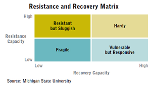 Resistance and Recovery matrix koja poduzeće smješta u jedan od četiri kvadranta: Krhko, Otporno, ali tromo, Ranjivo, ali responzivno, Izdržljivo